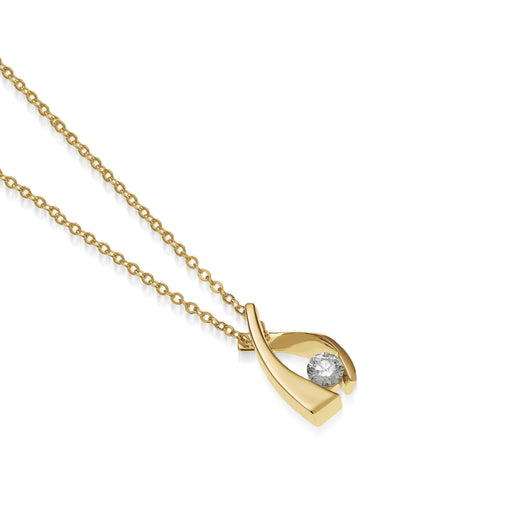Women's 14 karat Yellow Gold Oyster Small Diamond Solitaire Pendant Necklace