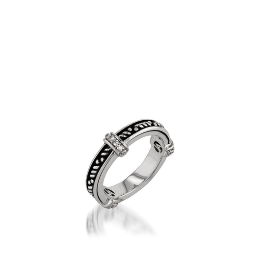Women's Sterling Silver Antigua Stack Ring with Pave Diamonds