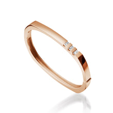 Load image into Gallery viewer, Women's 14 karat Rose Gold Devotion Hinged Diamond Bracelet