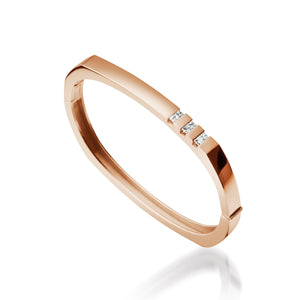 Women's 14 karat Rose Gold Devotion Hinged Diamond Bracelet