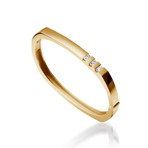 Women's 14 karat Yellow Gold Devotion Hinged Diamond Bracelet