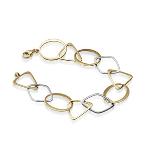 Women's 14 karat yellow gold and white gold Tipsy Two-tone Chain Link Bracelet