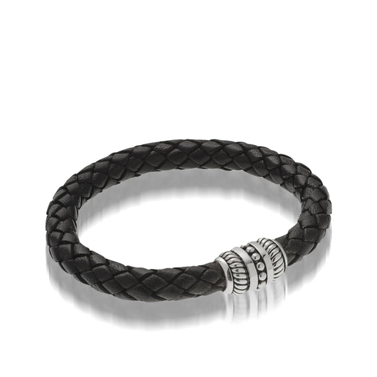 Women's Sterling Silver Apollo Women's Leather Bracelet