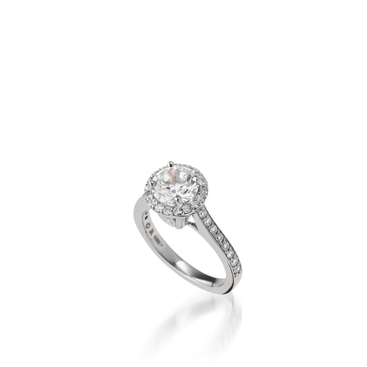Satin Round Brilliant Diamond Engagement Ring
