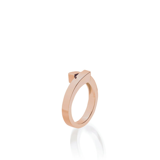 Women's 14 karat Rose Gold Pivot Plain Ring