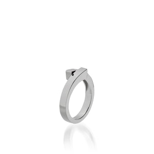 Women's 14 karat White Gold Pivot Plain Ring