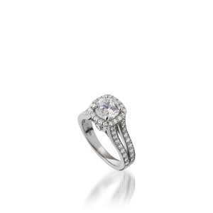 Chiffon Diamond Engagement Ring Round with Cushion Halo