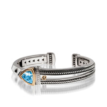 Load image into Gallery viewer, Women's Sterling Silver and 14 karat Yellow Gold Arrivo Blue Topaz Cuff