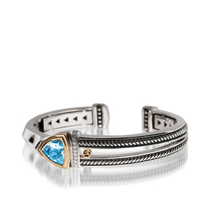 Women's Sterling Silver and 14 karat Yellow Gold Arrivo Blue Topaz Cuff
