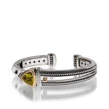 Load image into Gallery viewer, Women's Sterling Silver and 14 karat Yellow Gold Arrivo Peridot Cuff