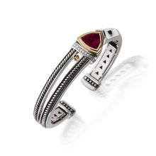 Load image into Gallery viewer, Women's Sterling Silver and 14 karat Yellow Gold Arrivo Rhodolite Garnet Cuff