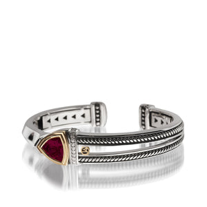 Women's Sterling Silver and 14 karat Yellow Gold Arrivo Rhodolite Garnet Cuff