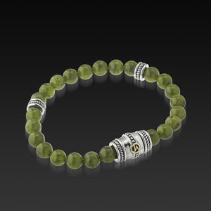 Mens Apollo Green Jade Beaded Bracelet with a 14 Karat gold and Sterling Silver Magnetic Clasp