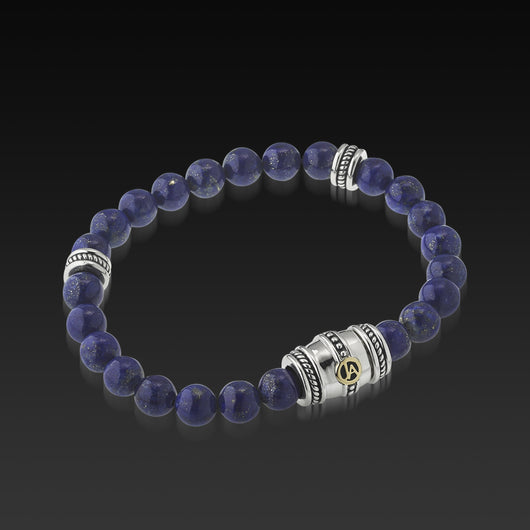 Mens Apollo Lapis Beaded Bracelet with a 14 Karat gold and Sterling Silver Magnetic Clasp