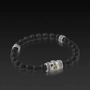 Mens Apollo Onyx Beaded Bracelet with a 14 Karat gold and Sterling Silver Magnetic Clasp