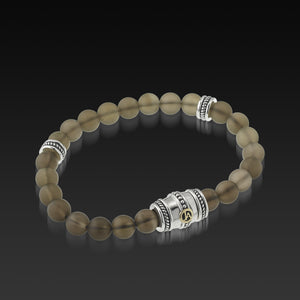 Mens Apollo Smokey Quartz Beaded Bracelet with a 14 Karat gold and Sterling Silver Magnetic Clasp