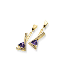 Load image into Gallery viewer, Women's 14 karat Yellow Gold Pinnacle Tanzanite and Diamond Dangle Earrings