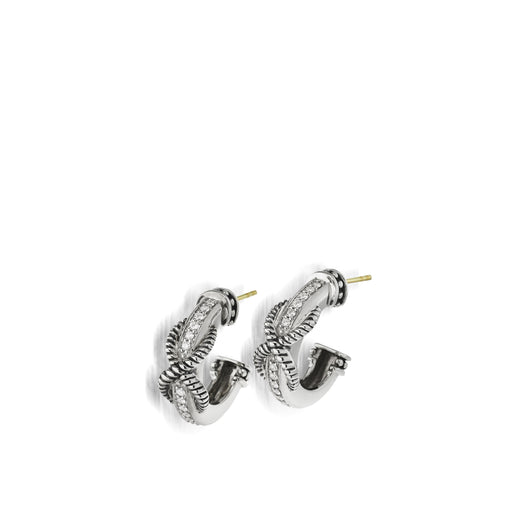 Apollo Huggie Hoop Earrings with Pave Diamonds