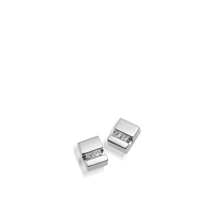 Women's 14 karat White Gold Devotion Diamond Stud Earrings