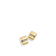 Load image into Gallery viewer, Women's 14 karat Yellow Gold Devotion Diamond Stud Earrings