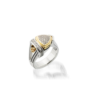 Women's Sterling Silver and 14 karat Yellow Gold Arrivo Diamond Ring