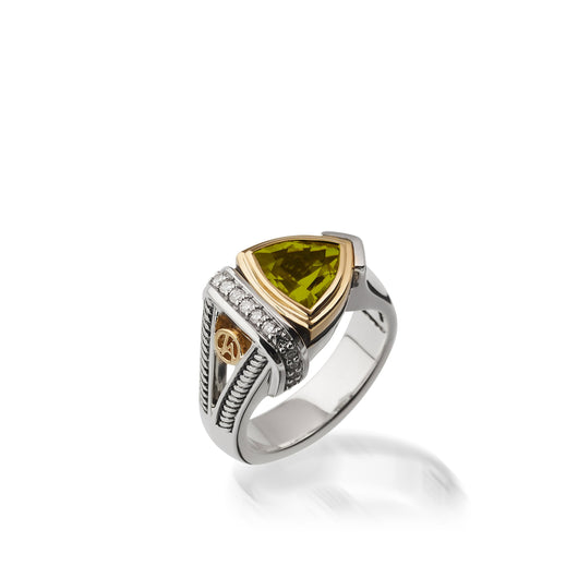Women's Sterling Silver and 14 karat Yellow Gold Arrivo Peridot Ring