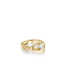 Load image into Gallery viewer, 14 karat Yellow Gold Oyster Diamond Ring with Single Channel-set Diamond