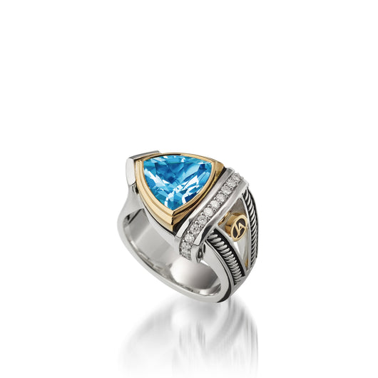 Women's Sterling Silver and 14 karat Yellow Gold Arrivo Blue Topaz Ring