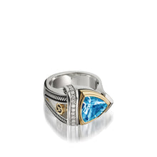 Load image into Gallery viewer, Women's Sterling Silver and 14 karat Yellow Gold Arrivo Blue Topaz Ring