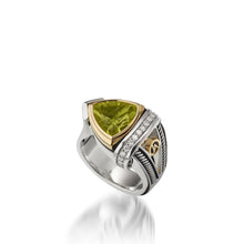 Load image into Gallery viewer, Women's Sterling Silver and 14 karat Yellow Gold Arrivo 10mm Peridot Ring
