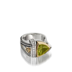 Women's Sterling Silver and 14 karat Yellow Gold Arrivo 10mm Peridot Ring