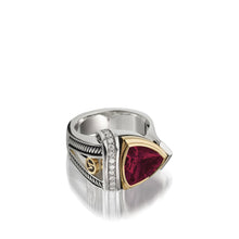 Load image into Gallery viewer, Women's Sterling Silver and 14 karat Yellow Gold Arrivo 10mm Rhodolite Garnet Ring