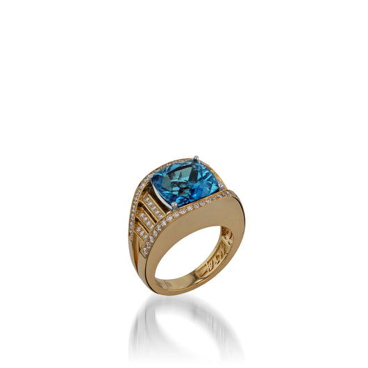 Signature Blue Topaz and Pave Diamond Ring