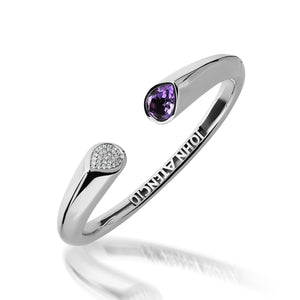 Women's 14 karat White Gold Gemini Diamond and Amethyst Hinged Bracelet