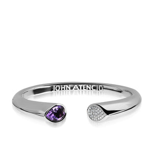 Gemini Lilac Amethyst and Pave Diamond Bracelet