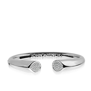Women's 14 karat White Gold Gemini Diamond Hinged Bracelet