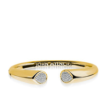 Load image into Gallery viewer, Women's 14 karat Yellow Gold Gemini Diamond Hinged Bracelet