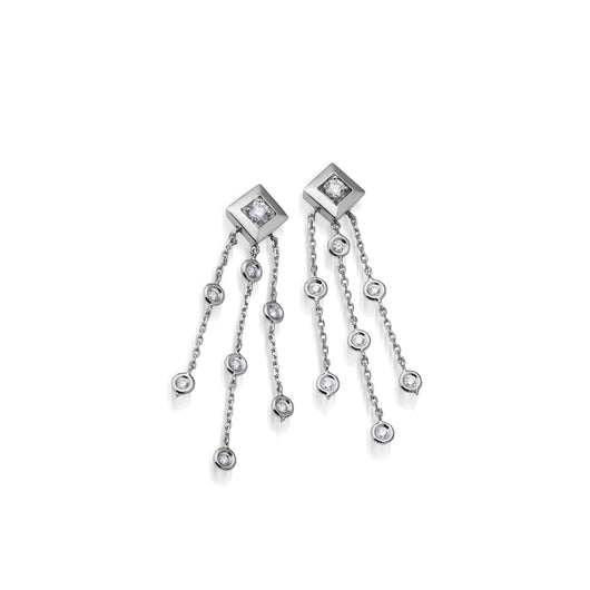 Women's 14 karat White Gold Confetti Diamond Tassel Earrings