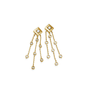 Women's 14 karat Yellow Gold Confetti Diamond Tassel Earrings