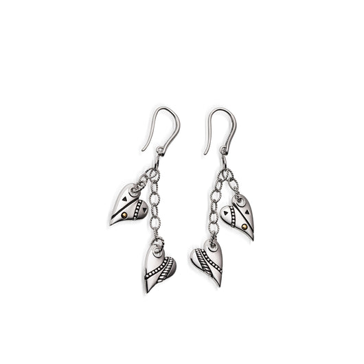 Women's Sterling silver Solar Heart Charm Earrings