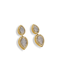 Load image into Gallery viewer, Women's 14 karat Yellow Gold Gemini Pave Diamond Earrings
