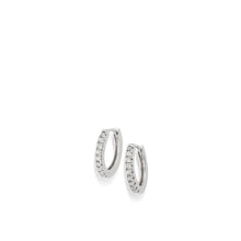 Load image into Gallery viewer, Women's 14 karat White Gold Essence Single Hoop Earrings with Pave Diamonds
