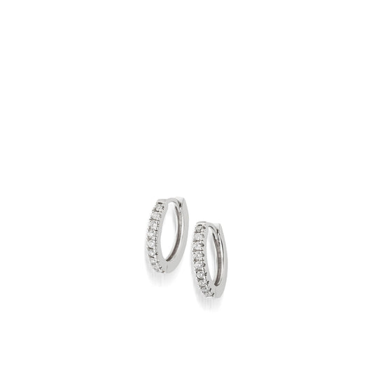 Women's 14 karat White Gold Essence Single Hoop Earrings with Pave Diamonds