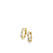 Load image into Gallery viewer, Women's 14 karat Yellow Gold Essence Single Hoop Earrings with Pave Diamonds