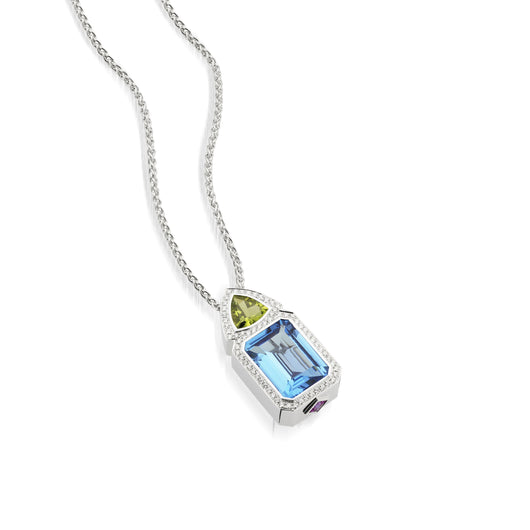 18 karat white gold Signature Blue Topaz Pendant