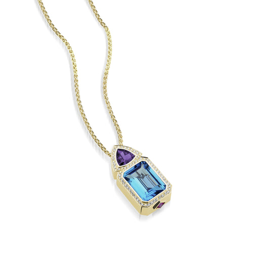 18 karat yellow gold Signature Blue Topaz Pendant