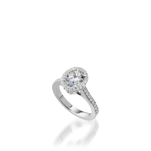 Satin Oval Diamond Engagement Ring