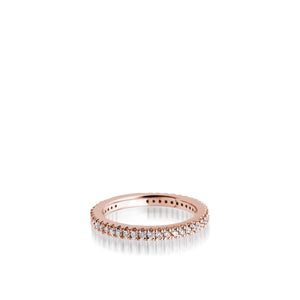 Women's 14 karat Rose Gold Essence Pave Diamond Stack Ring