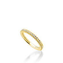 Load image into Gallery viewer, Women's 14 karat Yellow Gold Essence Pave Diamond Stack Ring