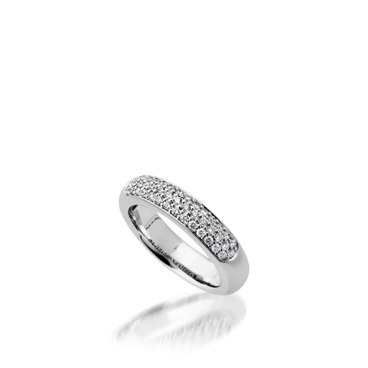 Women's 14 karat White gold Essence Band Ring with Pave Diamonds